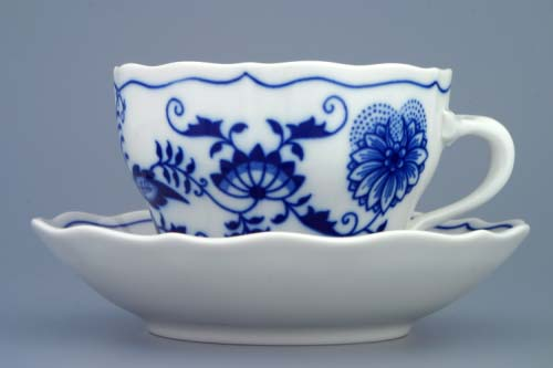 Zwiebelmuster Cup + Saucer 0.20L + 14cm, Original Bohemia Porcelain from Dubi