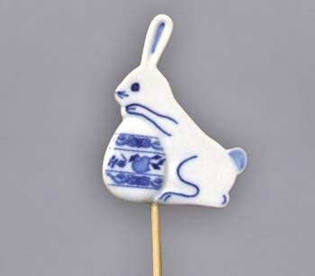 Zwiebelmuster Easter Decoration Bunny, Original Bohemia Porcelain from Dubi