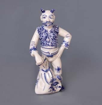 Zwiebelmuster Devil Luzifer 18cm, Original Bohemia Porcelain from Dubi