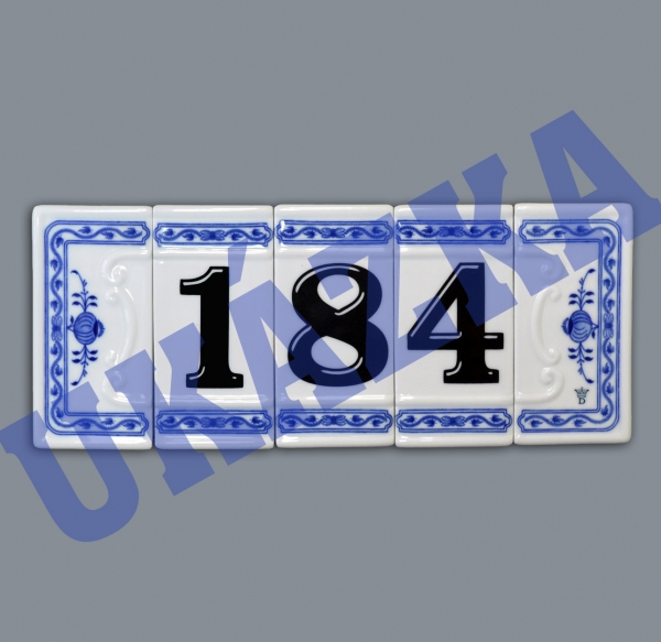 Zwiebelmuster House Number, Original Bohemia Porcelain from Dubi