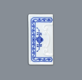Zwiebelmuster House Number Frame, Original Bohemia Porcelain from Dubi