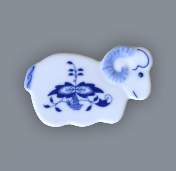 Zwiebelmuster Magnet Ram 6cm, Original Bohemia Porcelain from Dubi