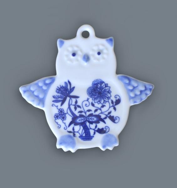 Zwiebelmuster Magnet Owl, Original Bohemia Porcelain from Dubi