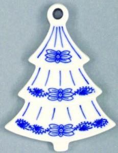 Zwiebelmuster Christmas Decoration Tree, Original Bohemia Porcelain from Dubi