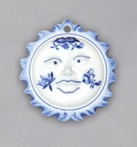 Zwiebelmuster Christmas Decoration Sun, Original Bohemia Porcelain from Dubi