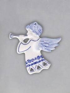 Zwiebelmuster Christmas Decoration Angel Perforated, Original Bohemia Porcelain from Dubi