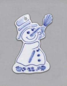 Zwiebelmuster Christmas Decoration Snowman, Original Bohemia Porcelain from Dubi