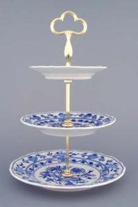 Zwiebelmuster 3pcs Tier Stand 35cm, Original Bohemia Porcelain from Dubi