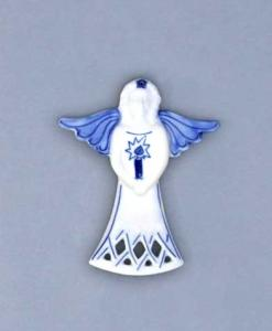 Zwiebelmuster Christmas Decoration Angel, Original Bohemia Porcelain from Dubi