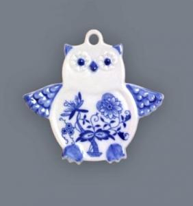 Zwiebelmuster Christmas Decoration Owl, Original Bohemia Porcelain from Dubi